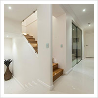 Porcelain tiles and bamboo steps