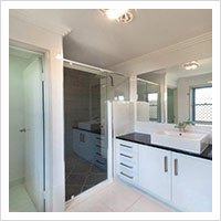 Ensuite with glass doors and seperate toilet